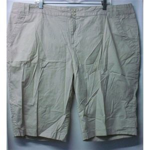 Caribbean Joe Plus Size 22W Khaki Bermuda Shorts